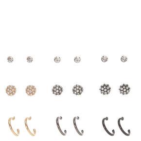 Gold, Hematite, and Black Crystal Stud and Hoop Earrings,