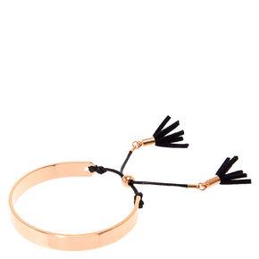 Rose Gold Tassel Cuff Bracelet,