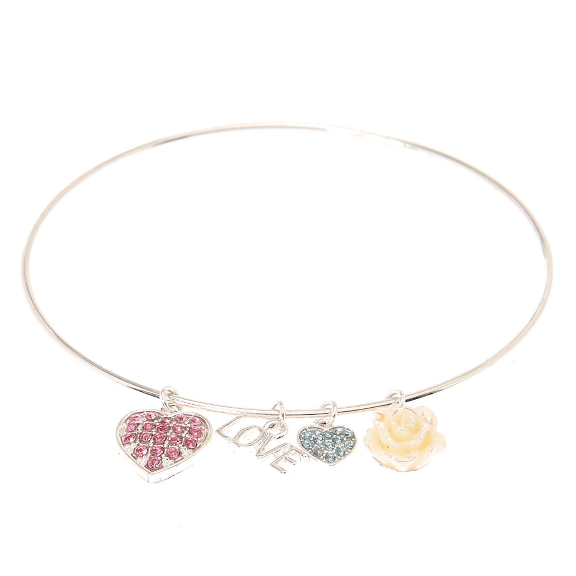 Silver tone Love Charm Bangle Bracelet