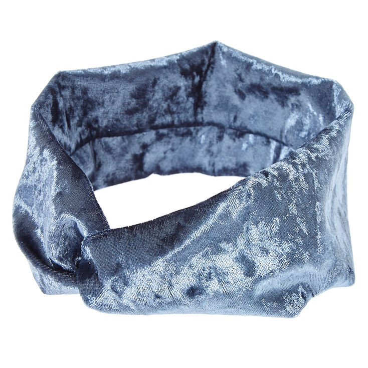 Steel Blue Velvet Headwrap,