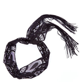 Black Lace Tassle Headscarf,