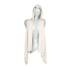 Icing Sport Beige Knit Sleeveless Hoodie Cardigan,