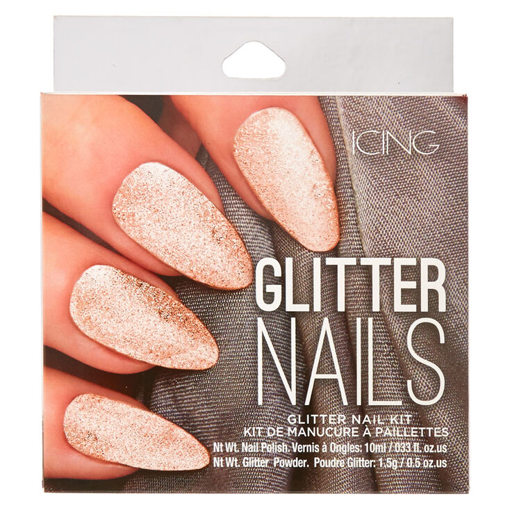 Rose Gold Glitter Nail Kit,