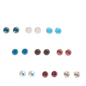 Mini Colorful Crystal Stud Earrings,