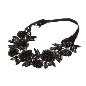 Black Crochet Lace and Seed Bead Roses Headwrap,