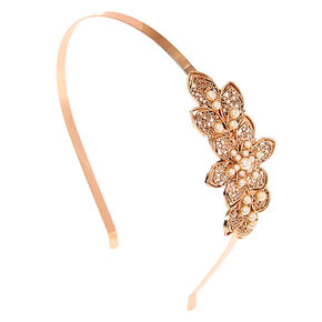 Rose Gold Toned Crystal Flower Headband,