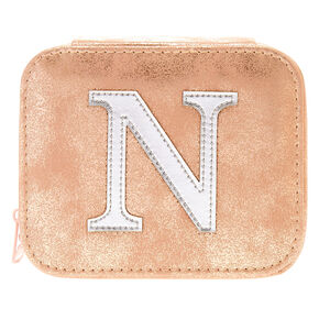 "Blush Pink ""N"" Initial Jewelry Case,"