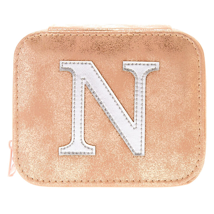 """Blush Pink """"N"""" Initial Jewelry Case,"""