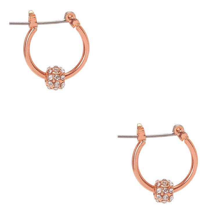 Rose Gold-tone Fireball Mini Hoop Earrings,