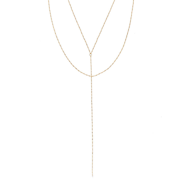 Gold-tone Textured Y Chain Necklace,