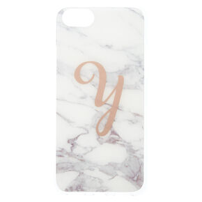 Marbled Y Initial Phone Case,