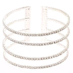 Multiple Crystal Row Bar Cuff Bracelet,