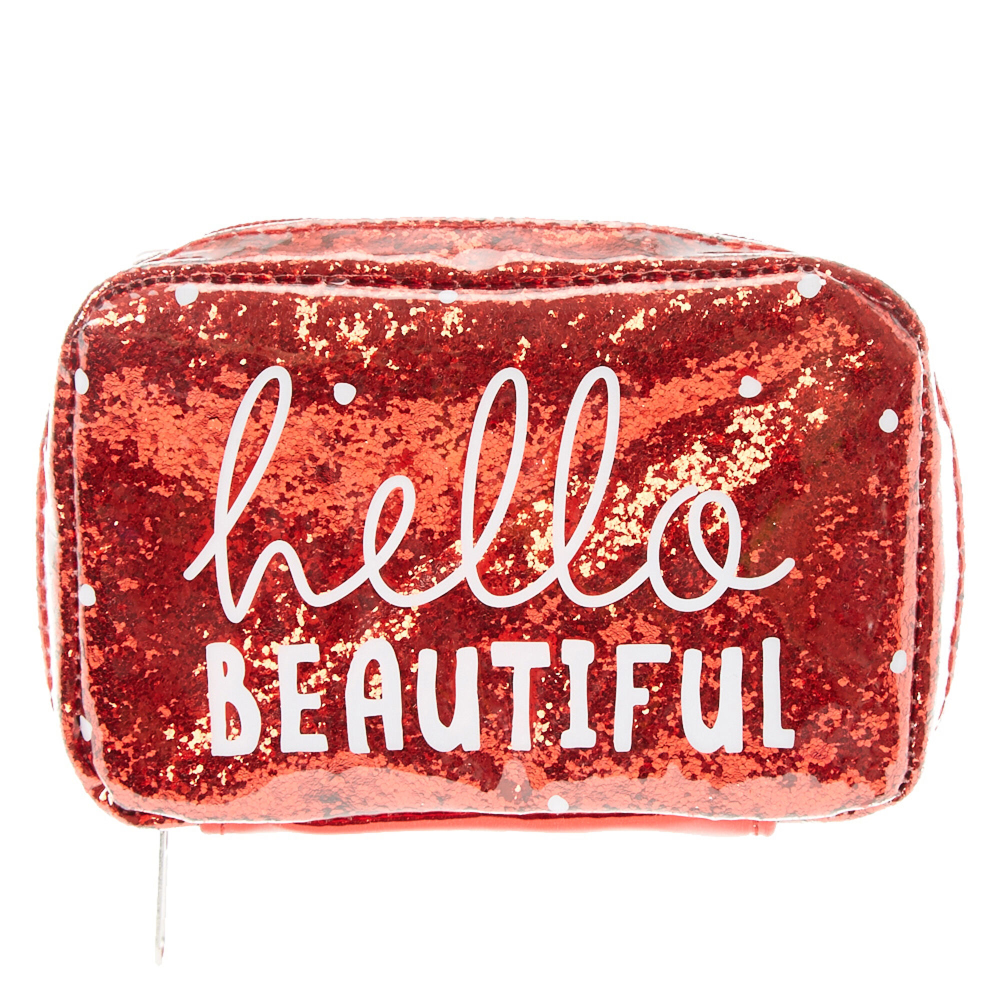 Hello Beautiful Red Glitter Cosmetic Bag | Claire's US
