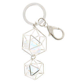 Silver Geometric Crystal Key Ring,
