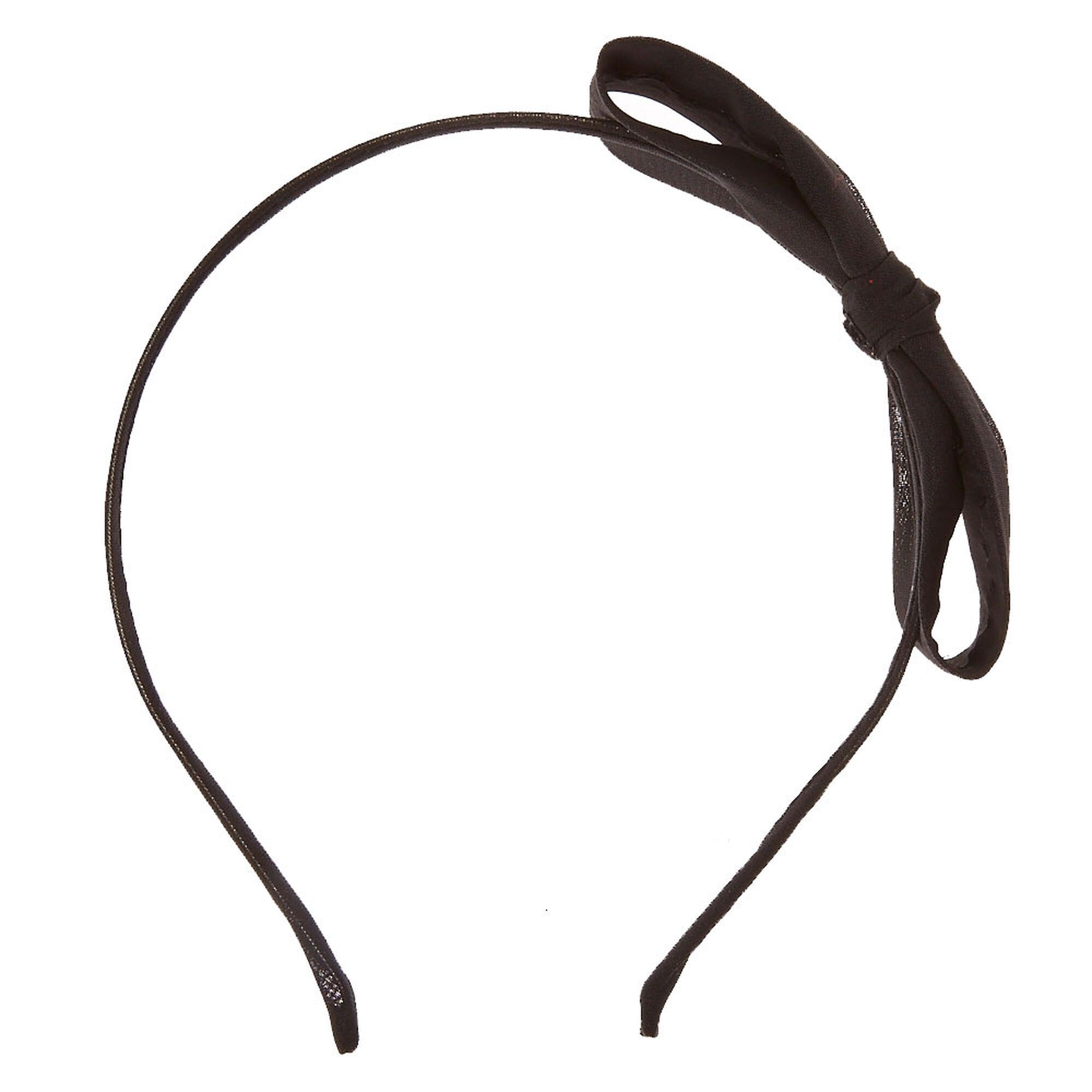 Straight Black Bow Headband Claire S Us