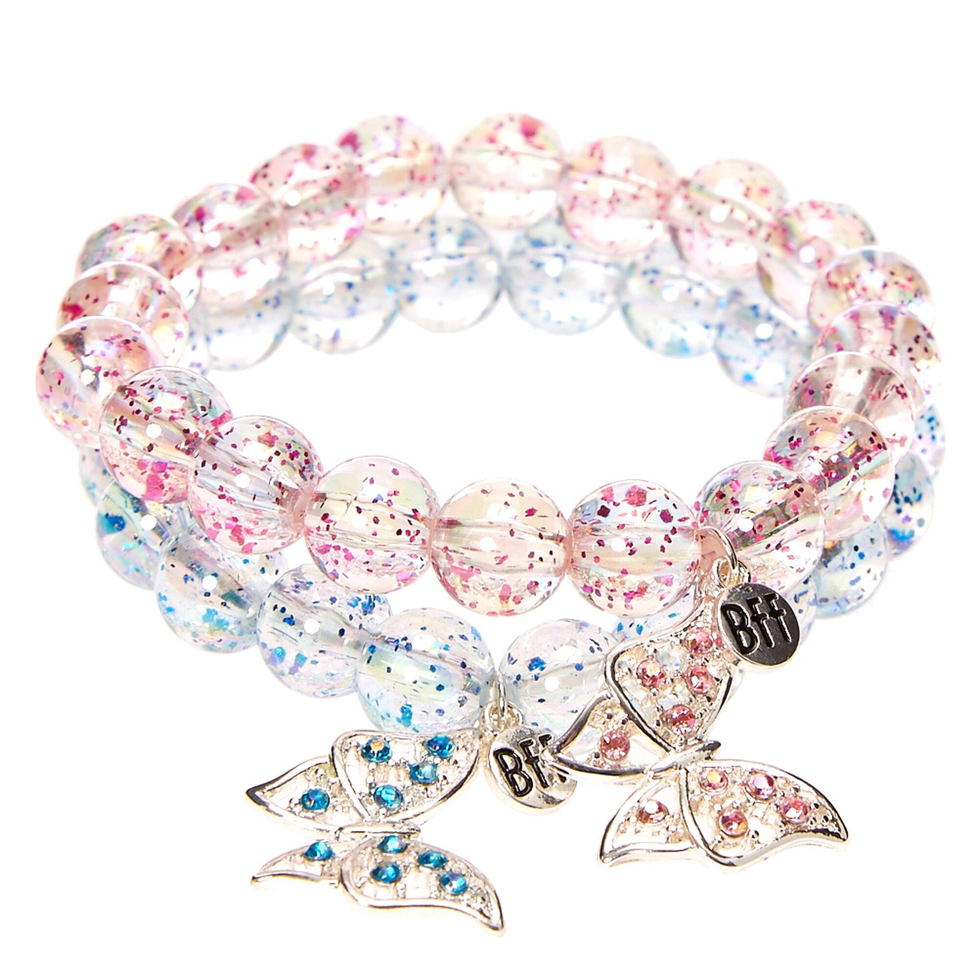 Best Friends Glittery Butterfly Charm Beaded Stretch Bracelet,