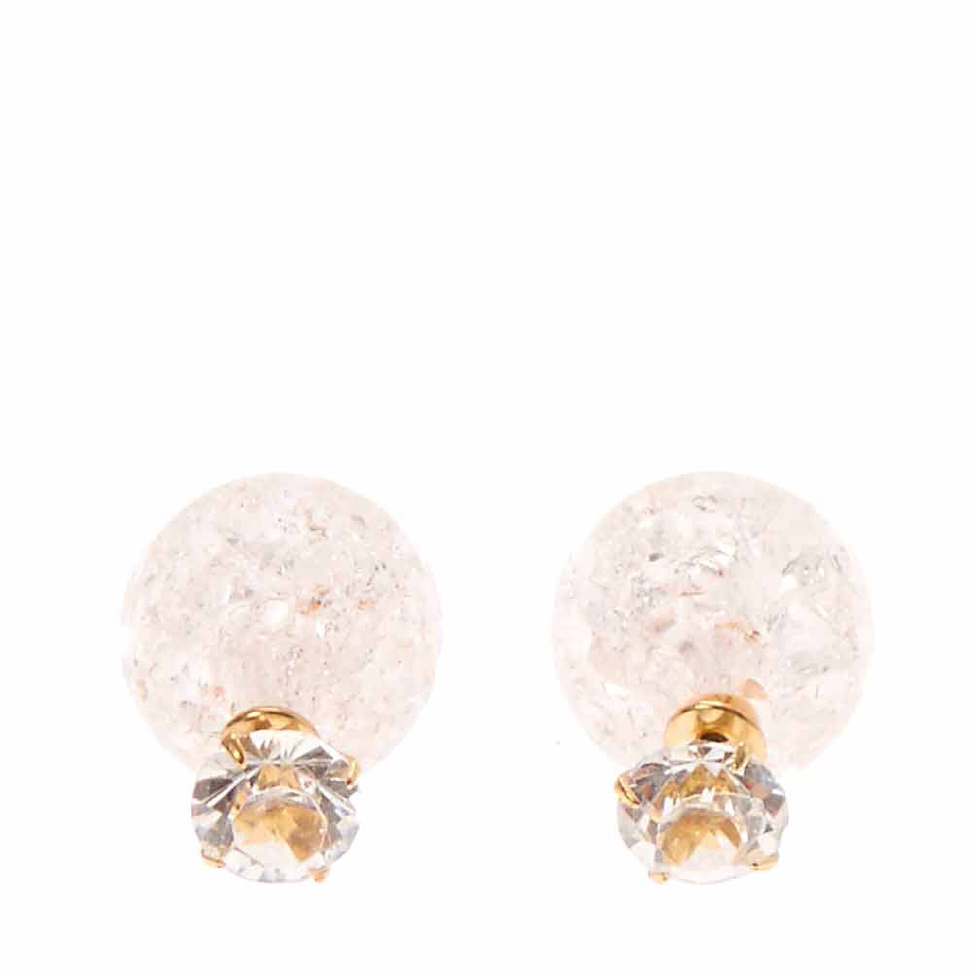 Clear Round Glass Stone And Pink Cracked Glass Ball Front And Back  Earrings,