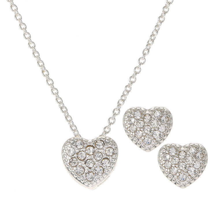 Silver Crystal Heart Necklace and Earrings Set,