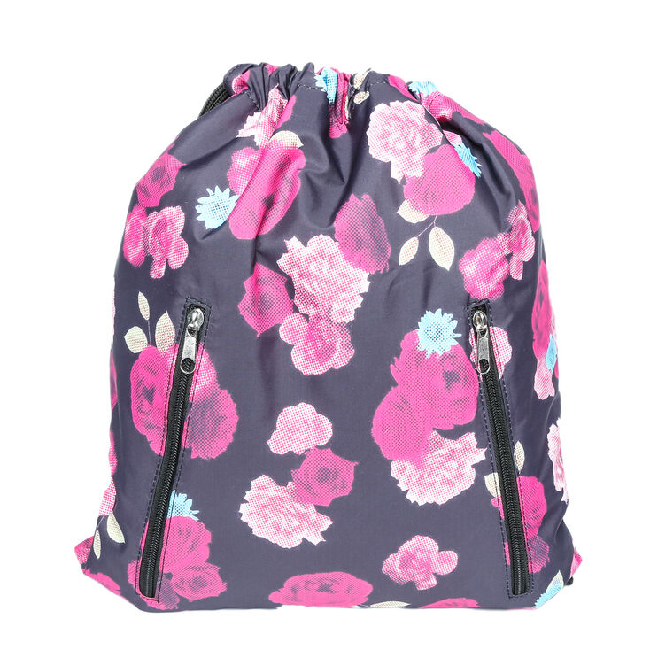 Icing Sport Black Floral Print Backpack,