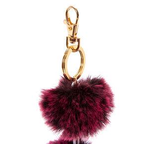 Pink Fur Pom Pom Keychain,