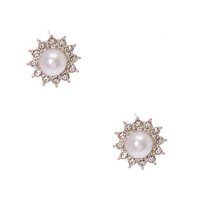 Crystal Framed White  Faux Pearl Stud Earrings,