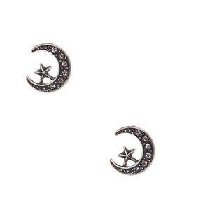 Burnished Silver-tone Crescent Moon and Star Stud Earrings,