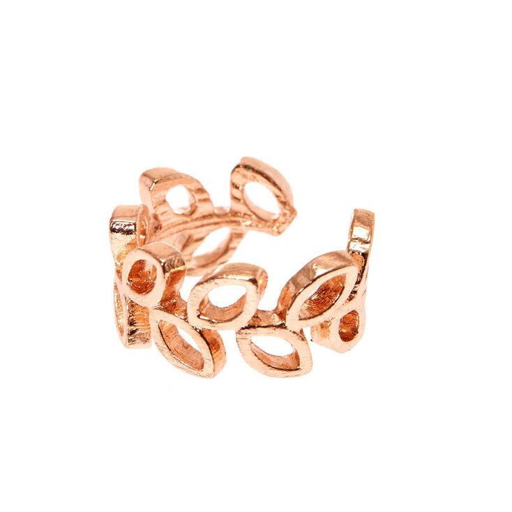 Rose Gold-tone Open Leaves Ear Cuff,
