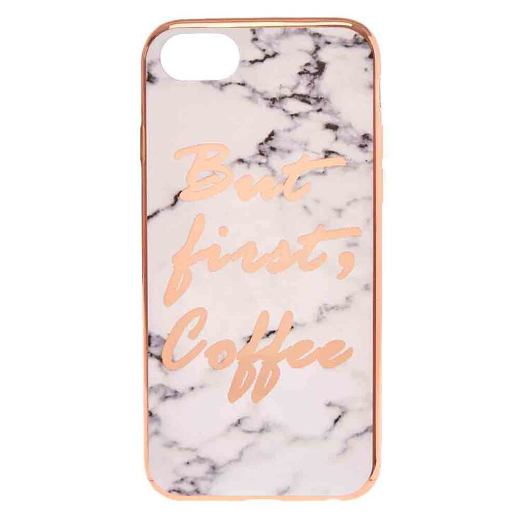 Coffee First Marble Print Phone Case,