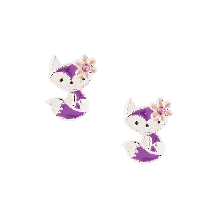 kids purple fox stud earrings claires us