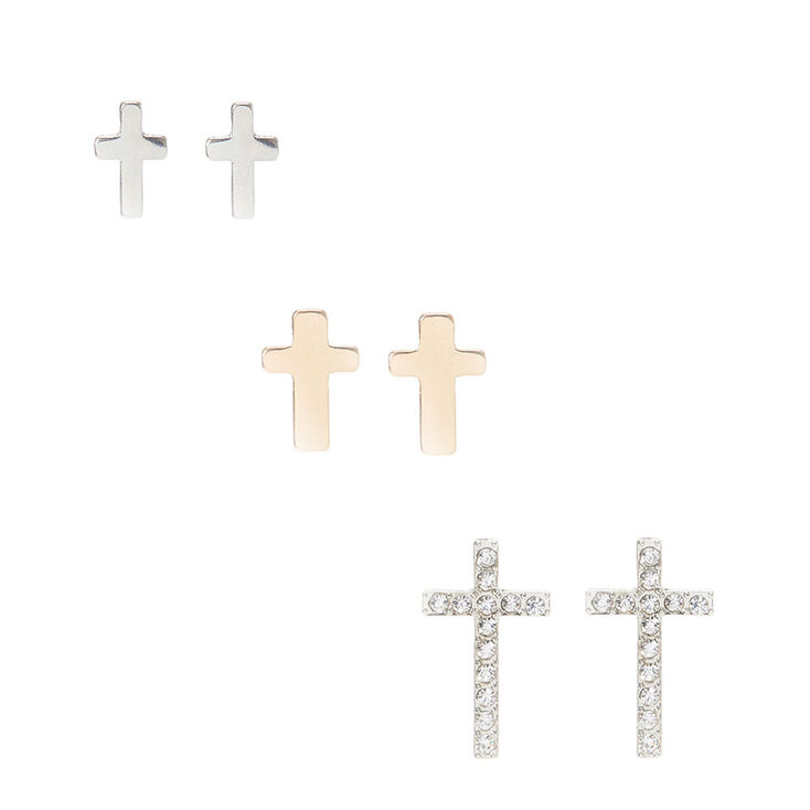 Silver and Gold-tone Metal Cross Earrings,