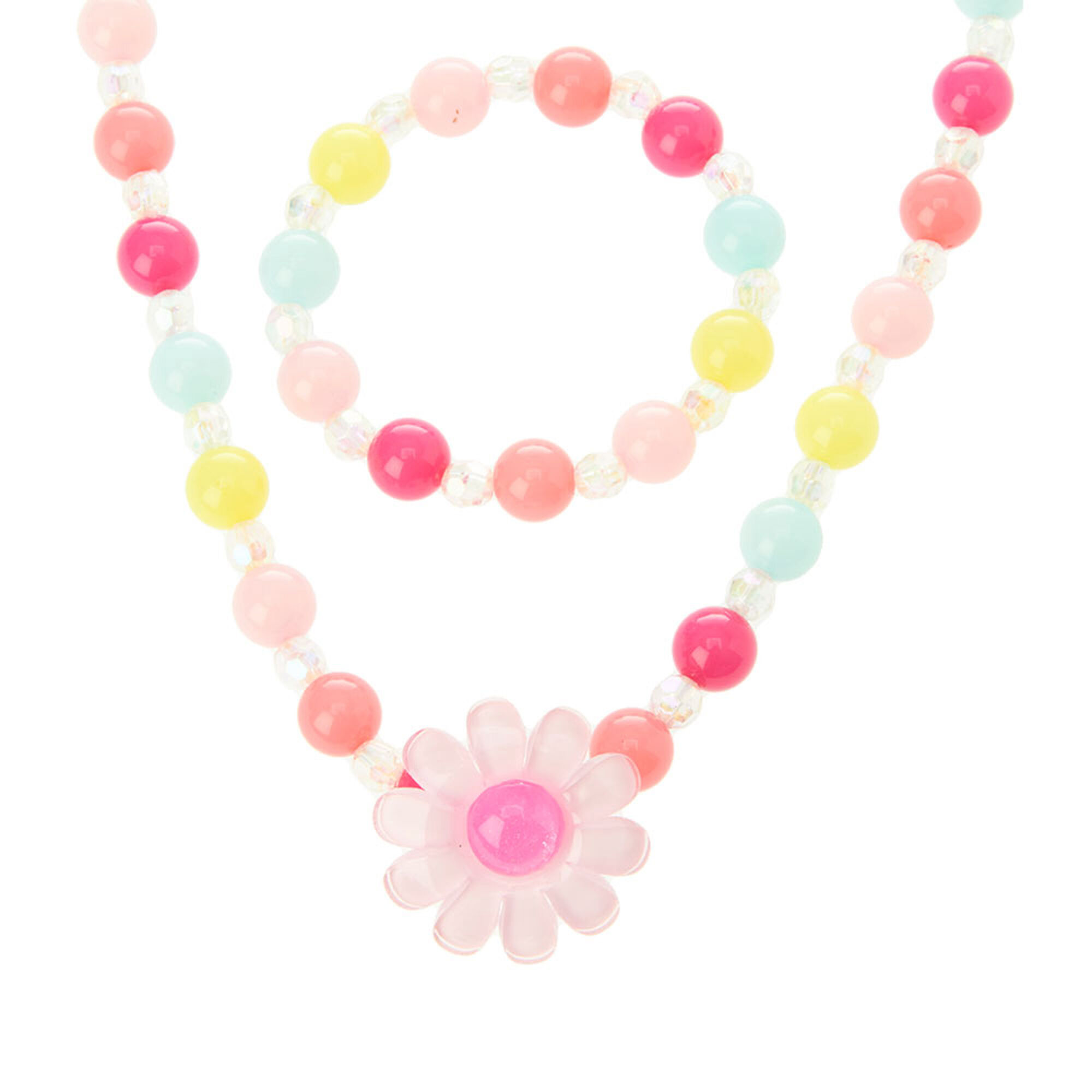 Kids Chunky Beads and Flower Necklace and Bracelet Set