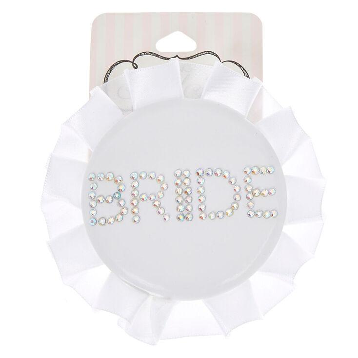 White Ruffle Bride Button,