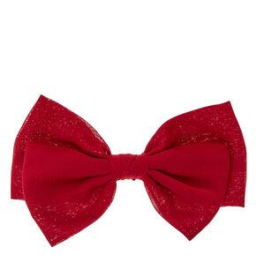 Wine Double Bow Hair Clip,