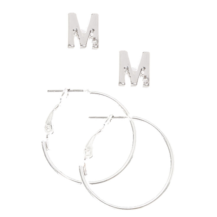 Silver Initial M Stud and Mini Hoop Earrings,