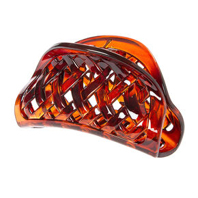 Tortoise Shell Basket Weave Claw Clip,