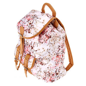 Soft Floral Brown, White & Pink Backpack,