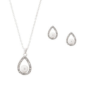 Rhinestone Teardrops with Pearls Pendant Necklace and Stud Earrings Set,