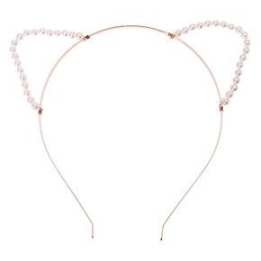 Rose Gold Pearl Cat Ears Headband,