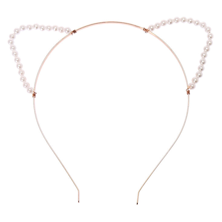 Rose Gold Pearl Cat Ears Headband at Icing in Victor, NY | Tuggl