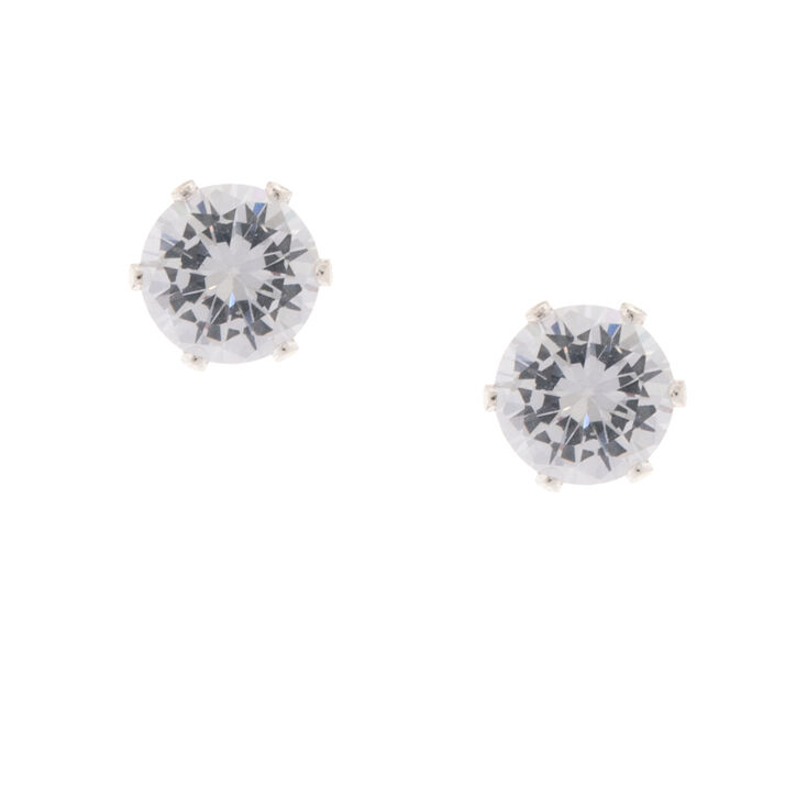 Silver Six Prong Set 8MM Round Cubic Zirconia Stud Earrings,