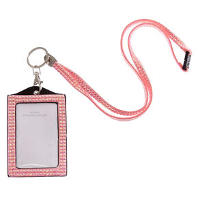 Pink Crystal Keyring ID Holder,