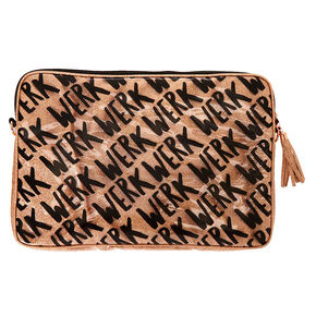 Rose Gold Glitter Werk Laptop Sleeve,