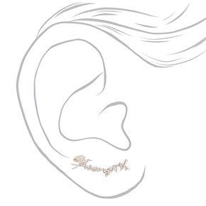 Silver-tone Cursive Strength Ear Crawlers,
