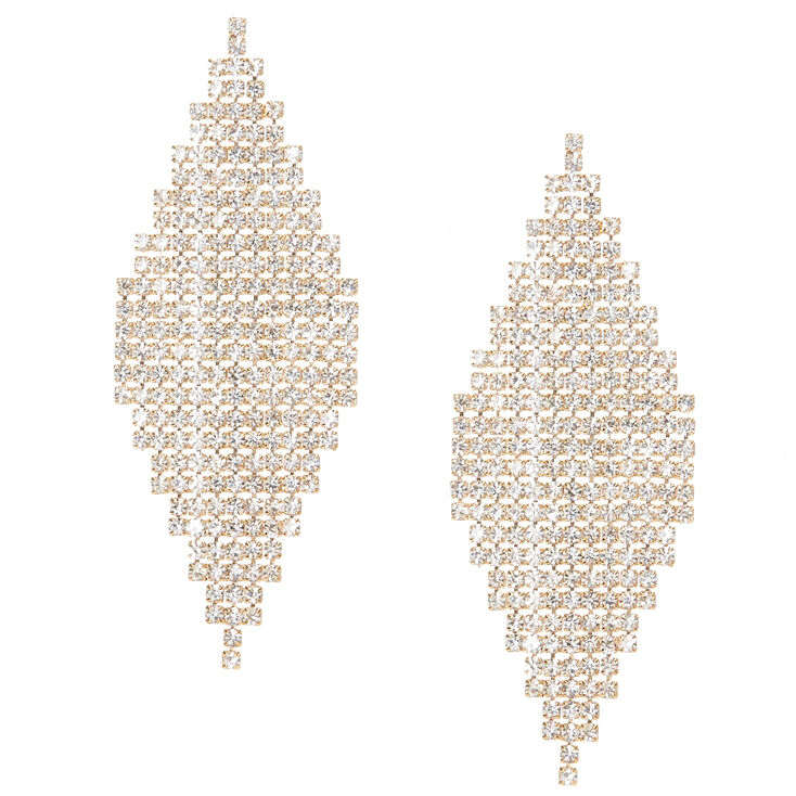 Gold Tone Crystal Marquis Earrings,