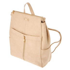 Nude Faux Leather Square Backpack,