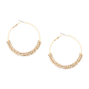 60MM Gold and Crystal Ring Hoop Earrings,