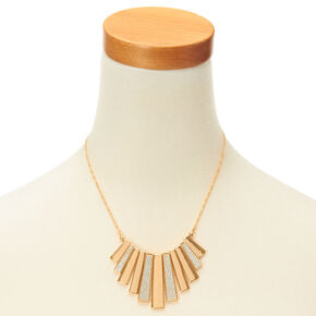 Gold And Silver Glitter Bars Fringe Necklace,