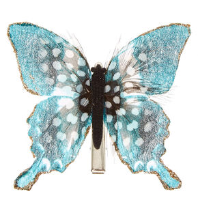 Turquoise and Spotted Feathers Butterfly Hair Clip,