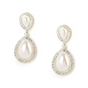 Pearl and Rhinestone Inverted Teardrop Drop Earrings,