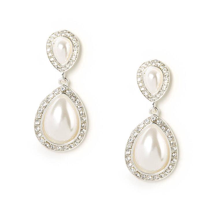 Pearl and Rhinestone Inverted Teardrop Drop Earrings,